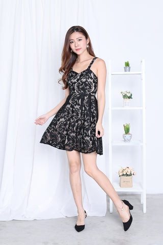 *TOPAZ* (PREMIUM) XENIA LACE DRESS IN BLACK