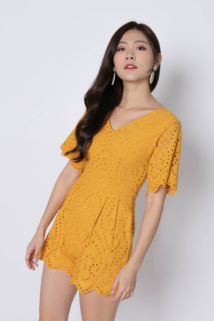 *TPZ* (PREMIUM) KALEY EYELET SLEEVED ROMPER IN MARIGOLD - TOPAZETTE