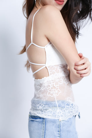 LUXE LACE CROSSBACK CAMISOLE IN WHITE - TOPAZETTE