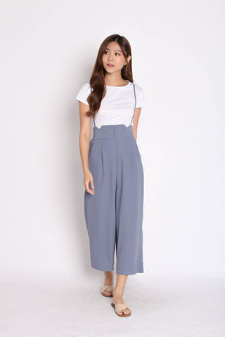 PALLAS BUTTON DOWN DUNGAREE SET IN DUSTY BLUE