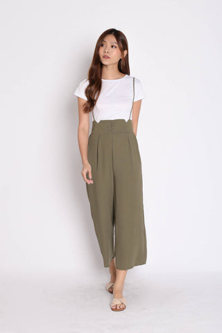 PALLAS BUTTON DOWN DUNGAREE SET IN OLIVE