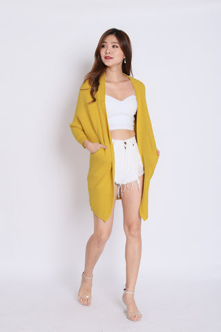 PAVER SOFT KNIT CARDIGAN IN MUSTARD