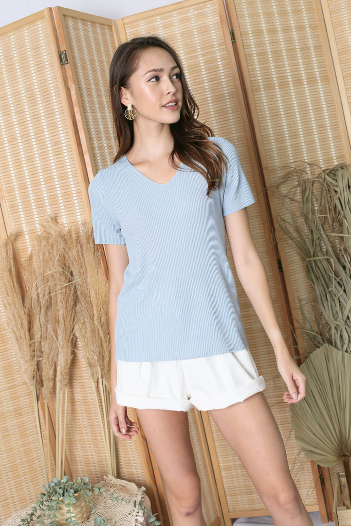 SEVYN V NECK KNIT TOP IN BABY BLUE