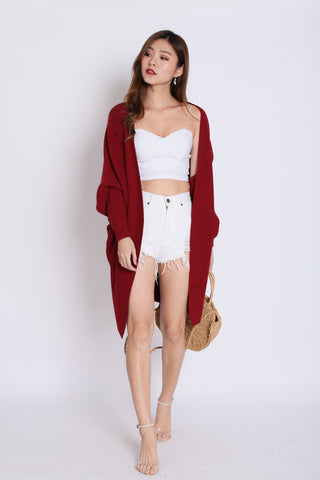 *RESTOCKED* PAVER SOFT KNIT CARDIGAN IN BURGUNDY