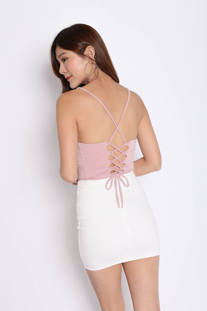 BASIC LACED BACK TOP IN DUSTY PINK - TOPAZETTE