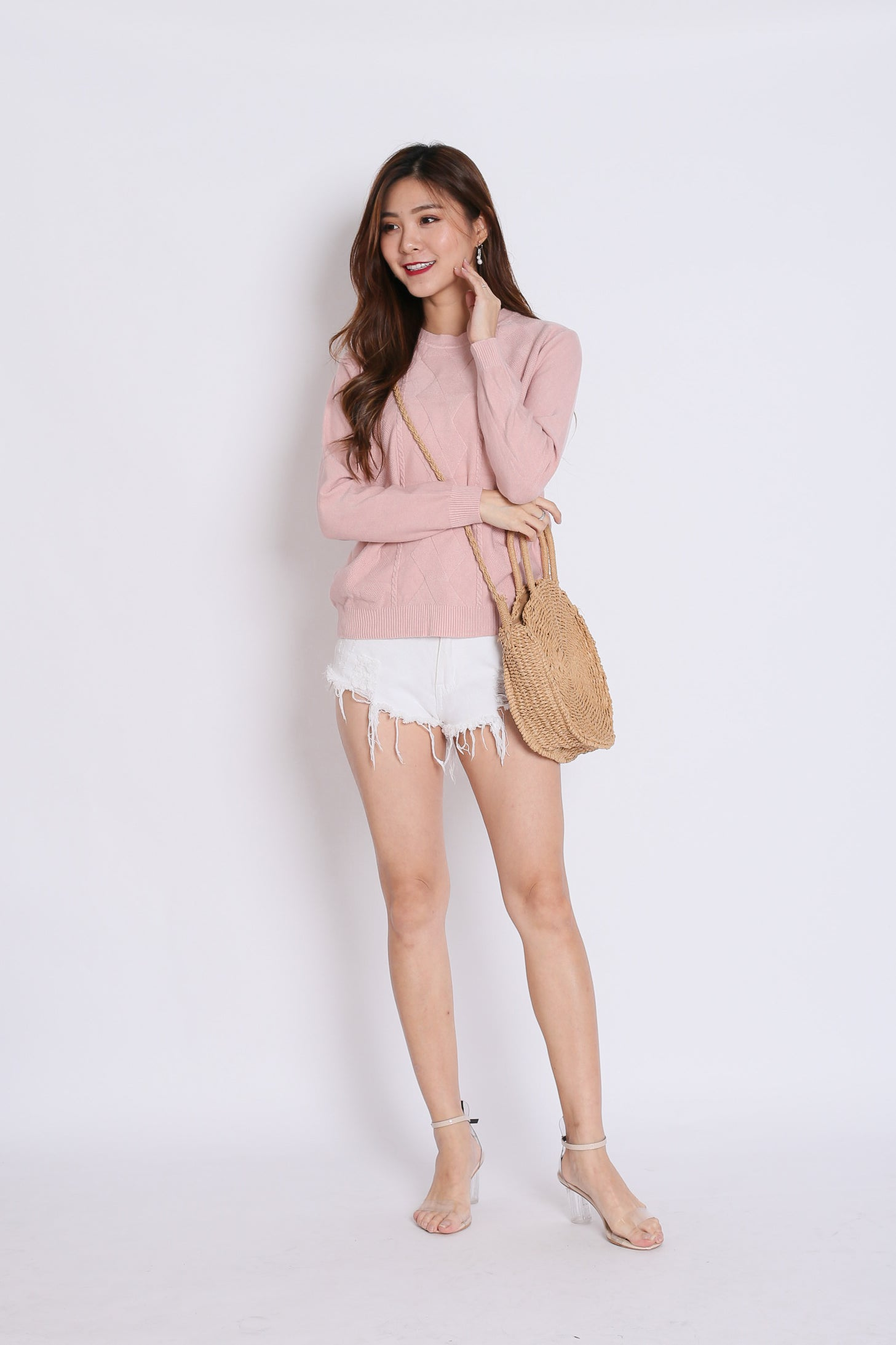 *RESTOCKED* BRITZ CABLE KNIT TOP IN DUSTY PINK