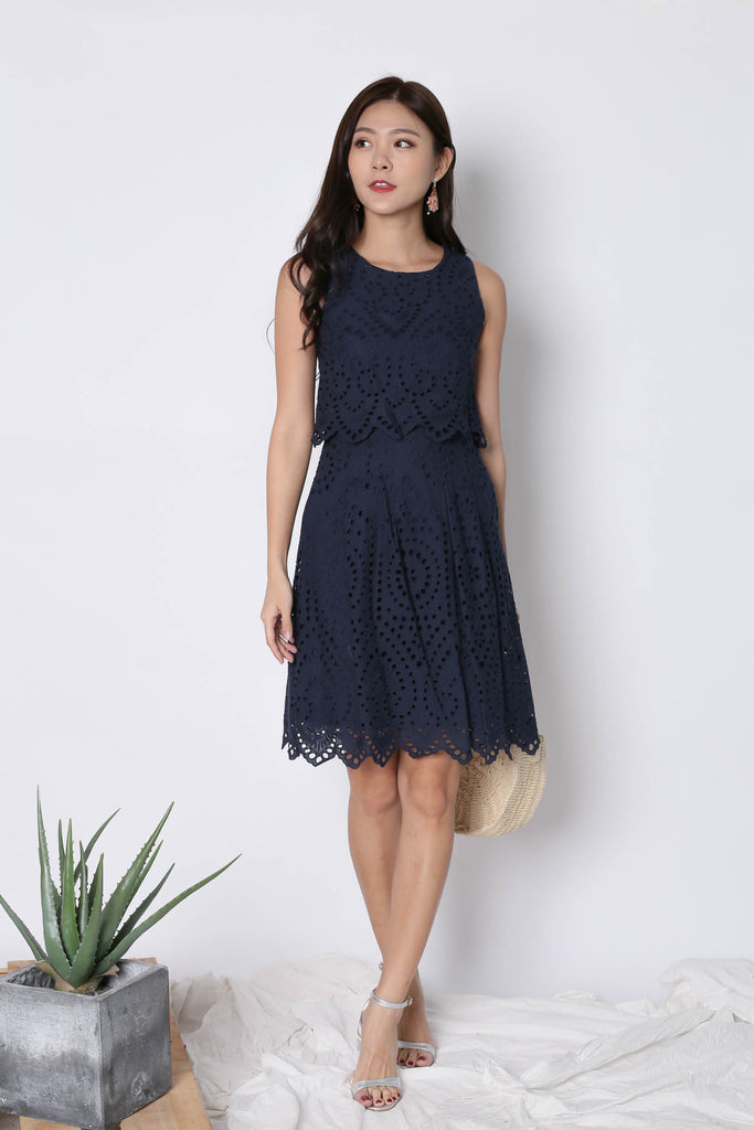 *TPZ* (PREMIUM) FXELA EYELET TIER DRESS IN NAVY - TOPAZETTE