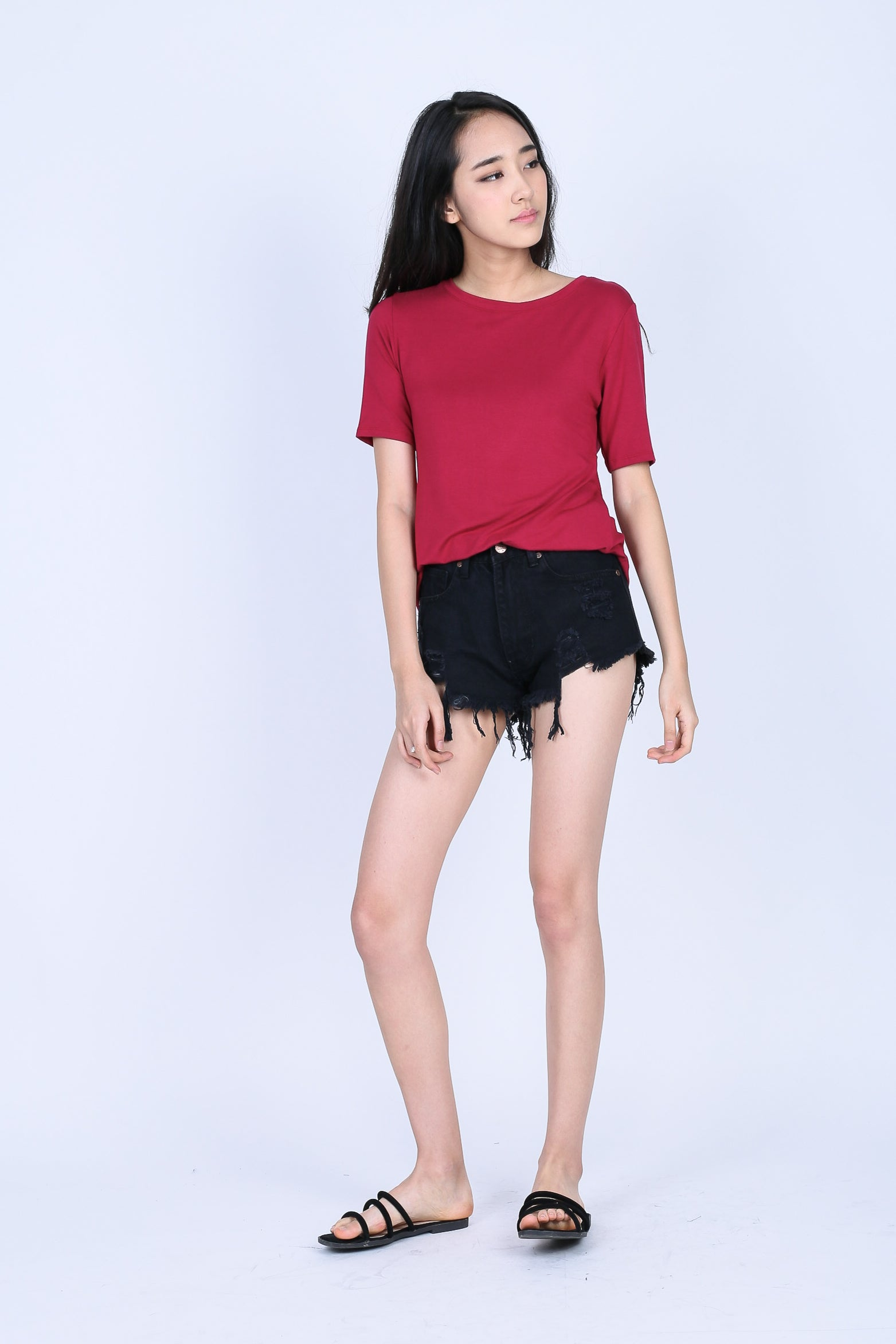 TWIST BACK OVERSIZED TOP IN WINE