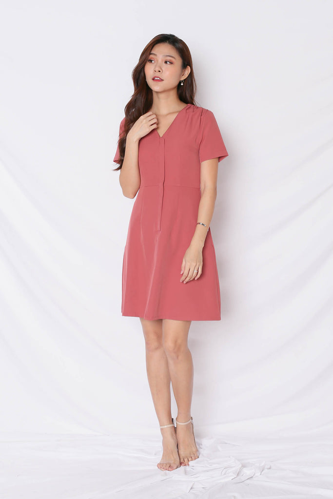 *TPZ* (PREMIUM) KELLYN FRONT ZIPPER SKATER DRESS IN TEA ROSE - TOPAZETTE