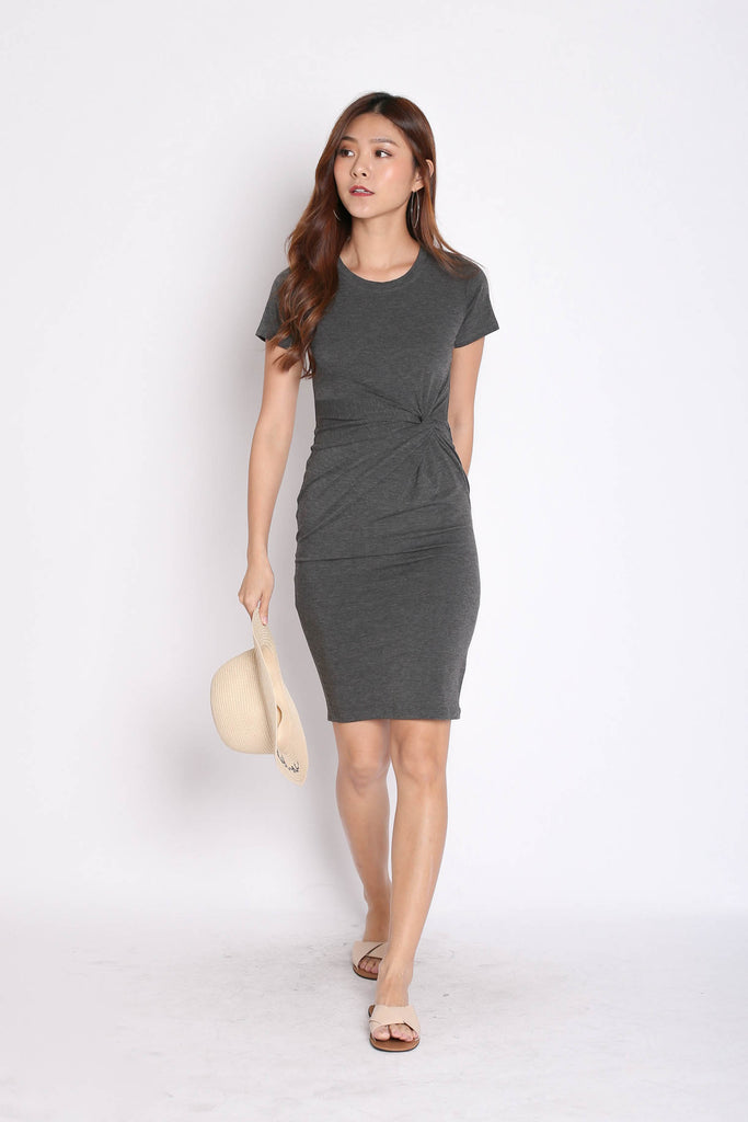 SLEEVED TWIST MIDI IN DARK GREY - TOPAZETTE