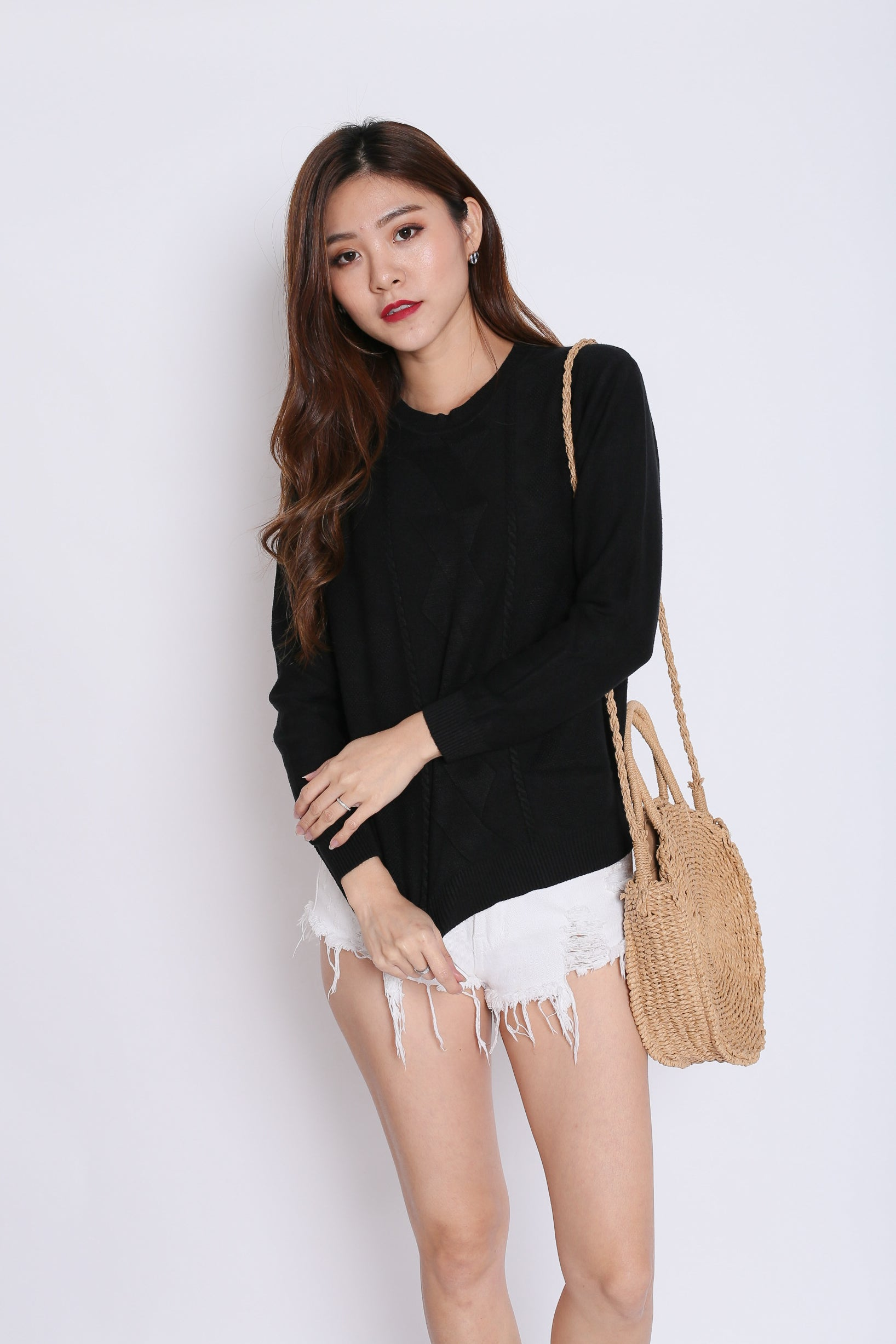 BRITZ CABLE KNIT TOP IN BLACK