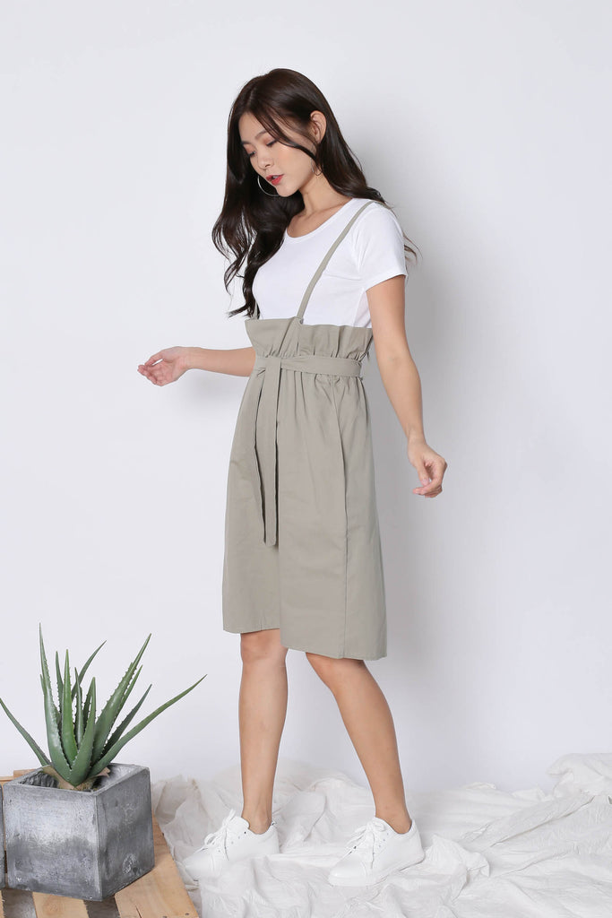 AYSHA PASTEL DUNGAREE DRESS SET IN SAGE GREEN
