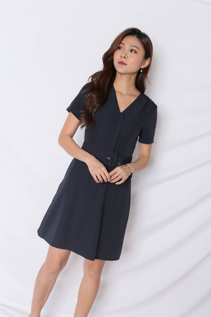 *TPZ* (PREMIUM) KELLYN FRONT ZIPPER SKATER DRESS IN NAVY - TOPAZETTE