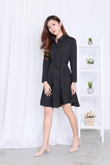 GHAYAS MILITARY SHIRT DRESS IN BLACK