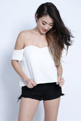 (RESTOCKED) ZAYN SWEETHEART OFF SHOULDER TOP IN WHITE - TOPAZETTE