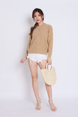 BRITZ CABLE KNIT TOP IN TAUPE