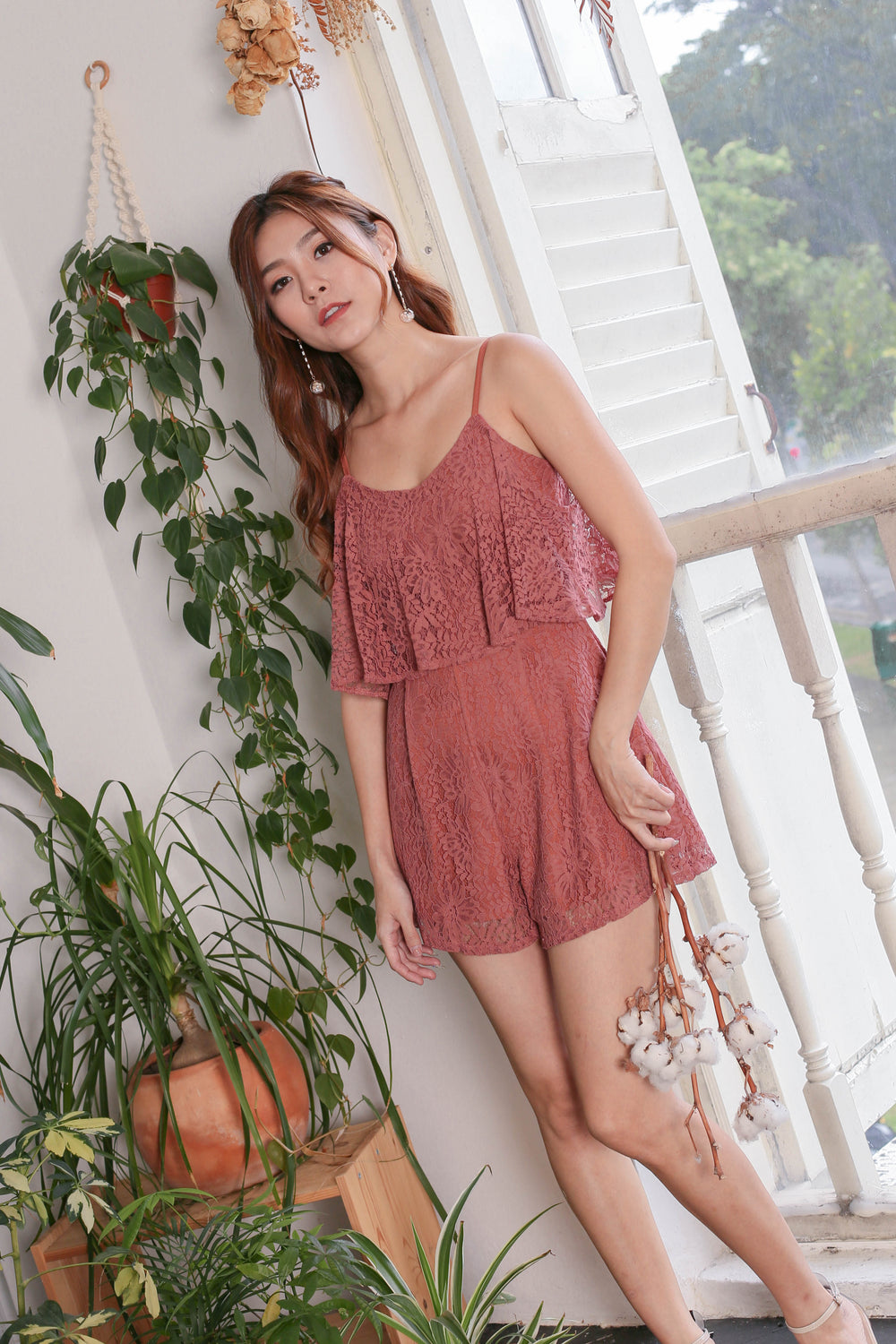 *TPZ* (PREMIUM) GERVELLE LACE ROMPER IN DUSTY CORAL