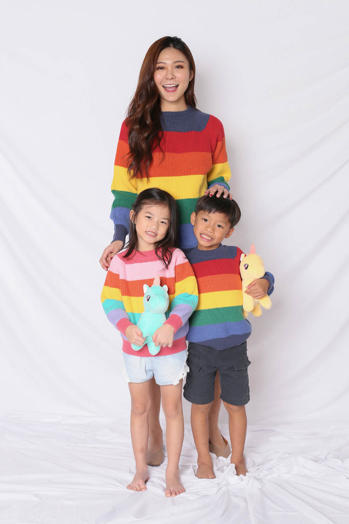 RAINBOW KNIT TOP IN BLUE (V1) - TOPAZETTE