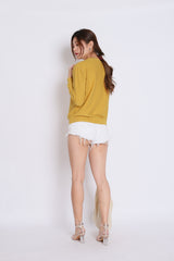 BRITZ CABLE KNIT TOP IN MUSTARD