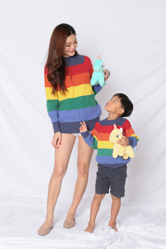 *LITTLE TOPAZETTE* RAINBOW KNIT TOP IN BLUE (V1) - TOPAZETTE