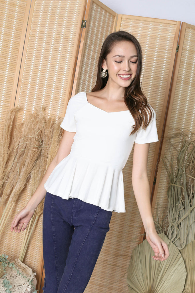 *TPZ* (PREMIUM) XOLA PEPLUM RIBBED TOP IN WHITE