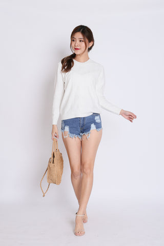 BRITZ CABLE KNIT TOP IN WHITE