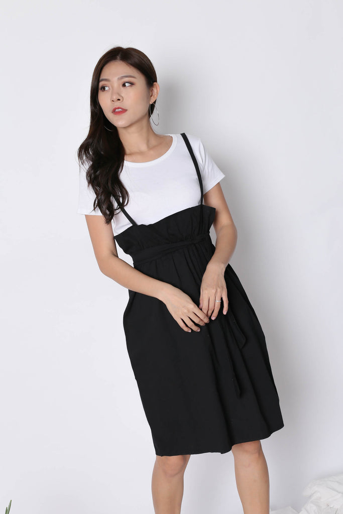 AYSHA PASTEL DUNGAREE DRESS SET IN BLACK - TOPAZETTE
