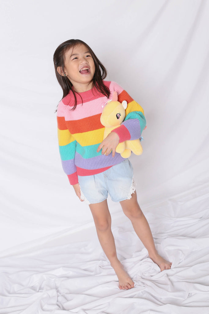 *LITTLE TOPAZETTE* RAINBOW KNIT TOP IN PINK (V2) - TOPAZETTE
