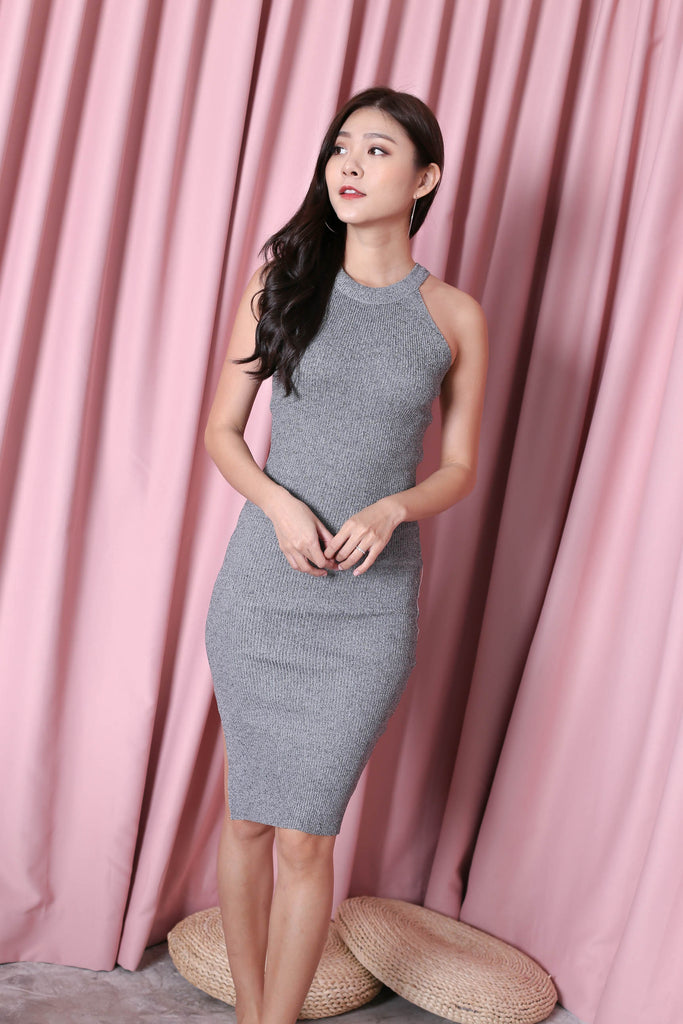 YEIRA HALTER KNIT SLIT DRESS IN ASH GREY