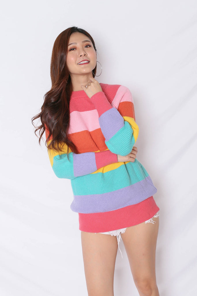*BACKORDER* RAINBOW KNIT TOP IN PINK (V2) - TOPAZETTE