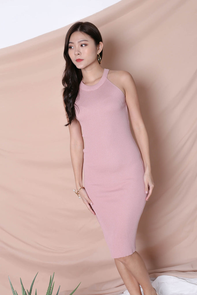 YEIRA HALTER KNIT SLIT DRESS IN BABY PINK - TOPAZETTE