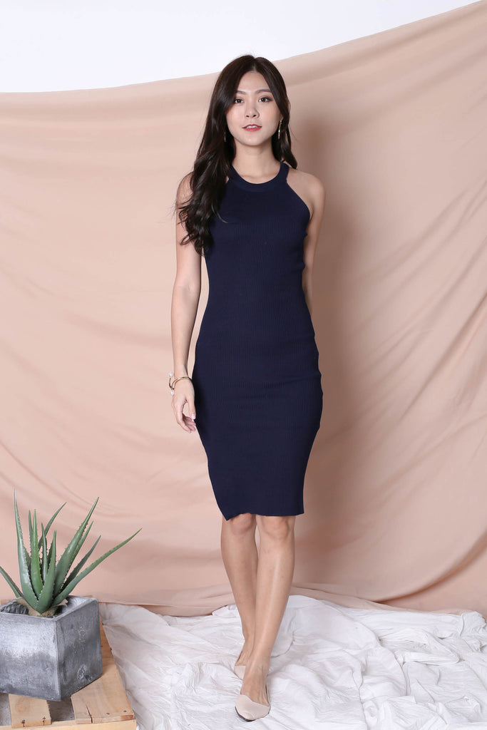 YEIRA HALTER KNIT SLIT DRESS IN NAVY