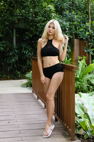 VENICE BEACH KNIT HALTER SET (BLACK)