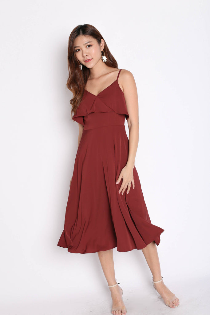 *TPZ* (PREMIUM) ISIDORA DRESS IN BURGUNDY - TOPAZETTE