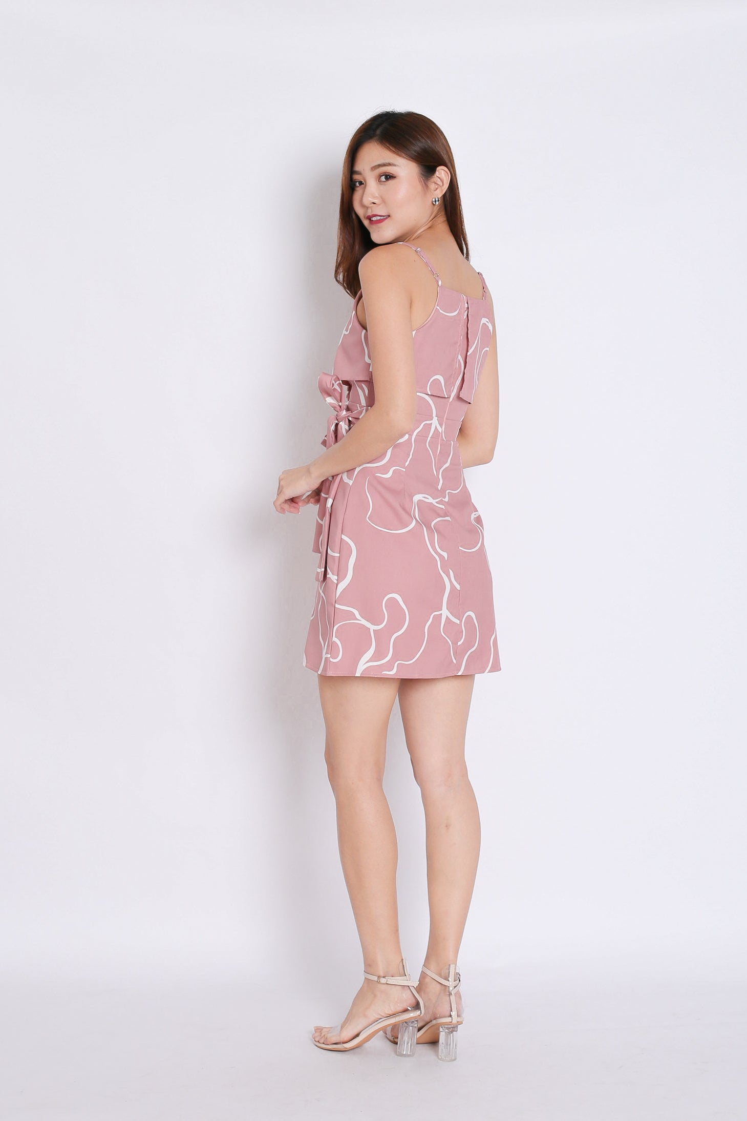 (PREMIUM) OCEANA SWIRL WRAP DRESS IN DUSTY PINK