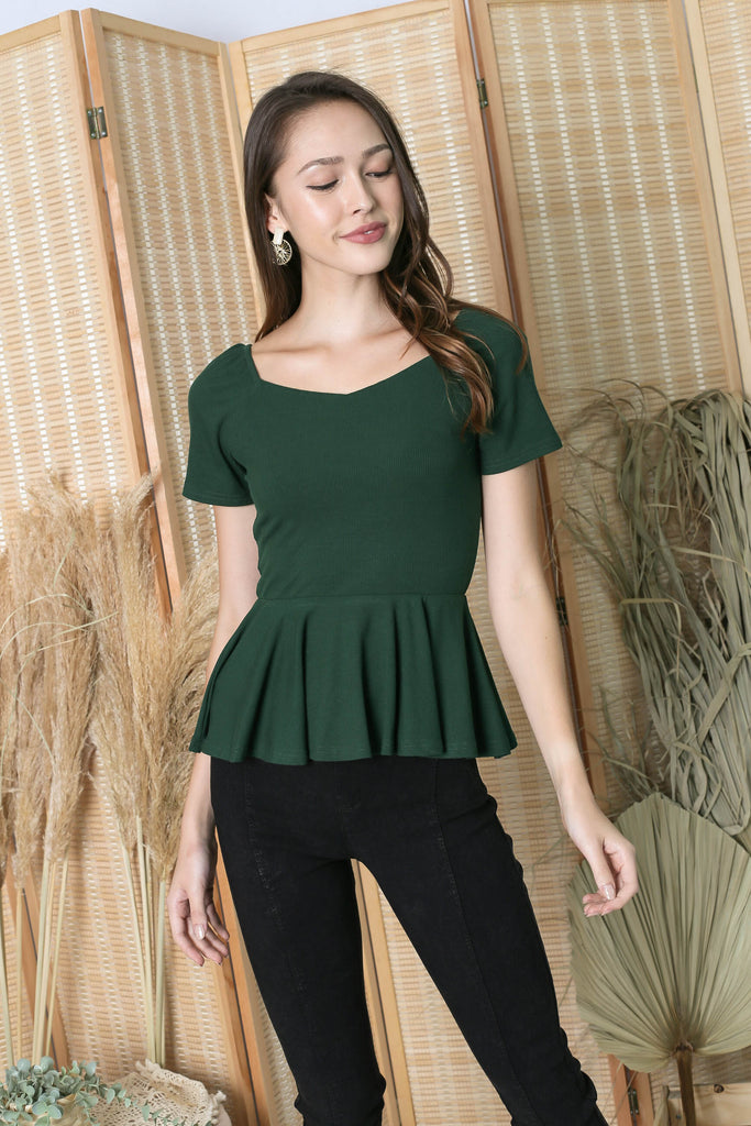 *TPZ* (PREMIUM) XOLA PEPLUM RIBBED TOP IN FOREST