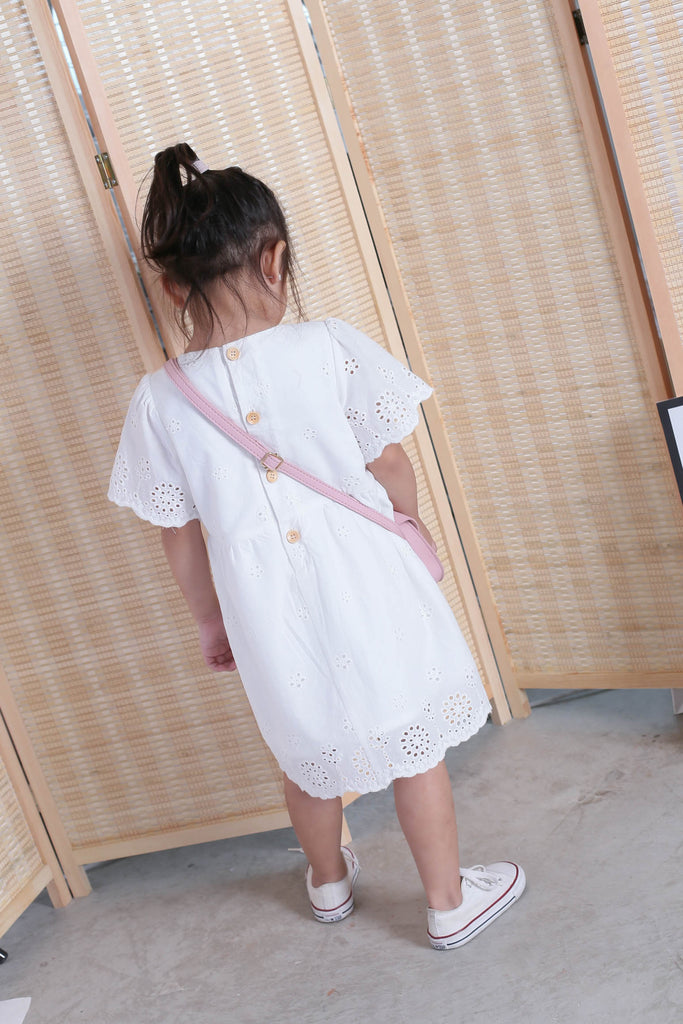 *LITTLE TOPAZETTE* HALLY EYELET DRESS IN WHITE - TOPAZETTE