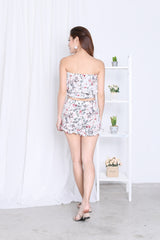 ESMELRALDA FLORAL 2 PC ROMPER SET IN WHITE