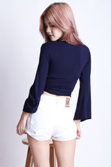 *BACKORDER* WRAP AROUND BELL SLEEVES TOP IN NAVY - TOPAZETTE