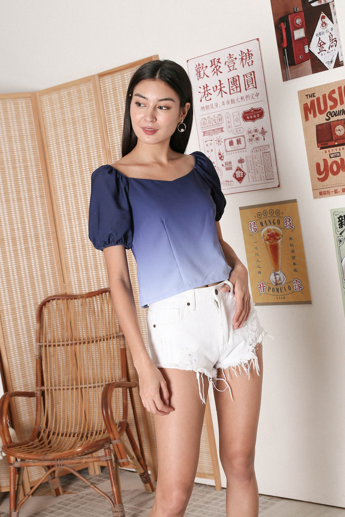 *TPZ* VIOLA OMBRE SWEETHEART TOP (NAVY/ GREY)