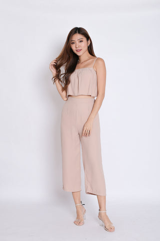 PIERRE STRIPES 2 PC TOP AND CULOTTES SET IN NUDE