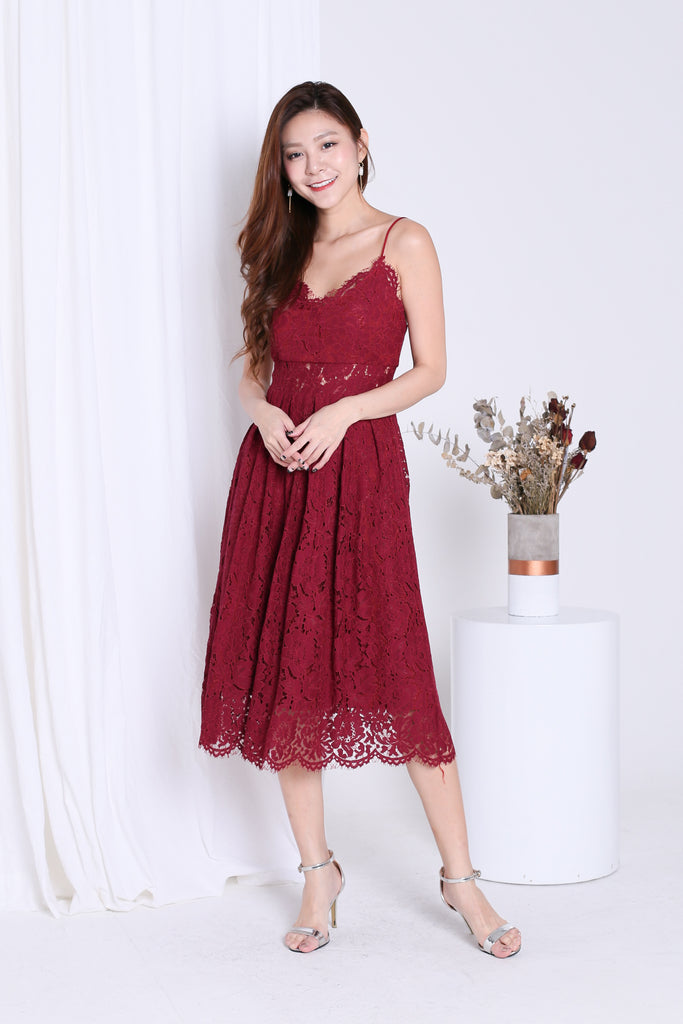 (RESTOCKED) *TOPAZ* (PREMIUM) HATHAWAY LACE SWEETHEART DRESS IN WINE - TOPAZETTE