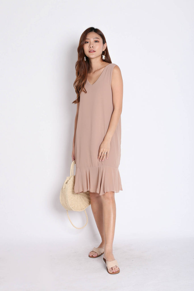 BASIC RUFFLES DROP HEM SHIFT DRESS IN NUDE - TOPAZETTE