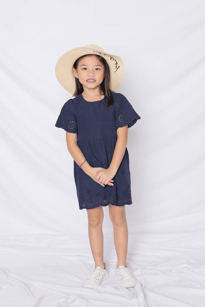 *LITTLE TOPAZETTE* HALLY EYELET DRESS IN NAVY - TOPAZETTE