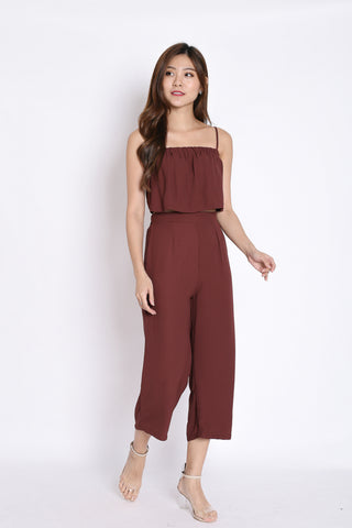 PIERRE STRIPES 2 PC TOP AND CULOTTES SET IN PLUM