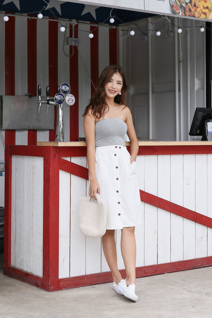 GABBY BUTTON DOWN MIDI SKIRT IN WHITE