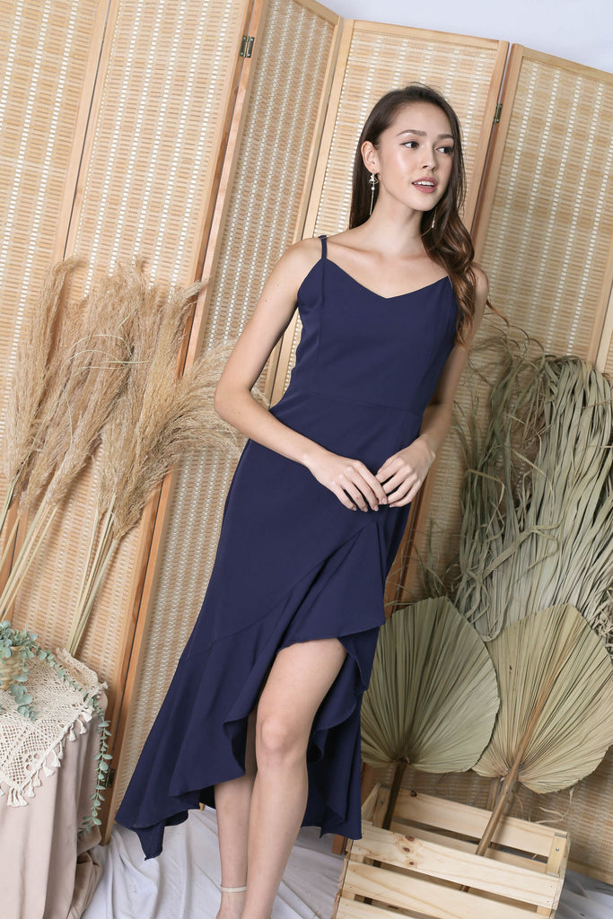 *TPZ* (PREMIUM) RIVERIA RUFFLES DRESS IN NAVY