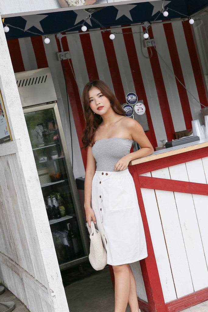 THE VERY BASIC TUBE TOP IN LIGHT GREY - TOPAZETTE