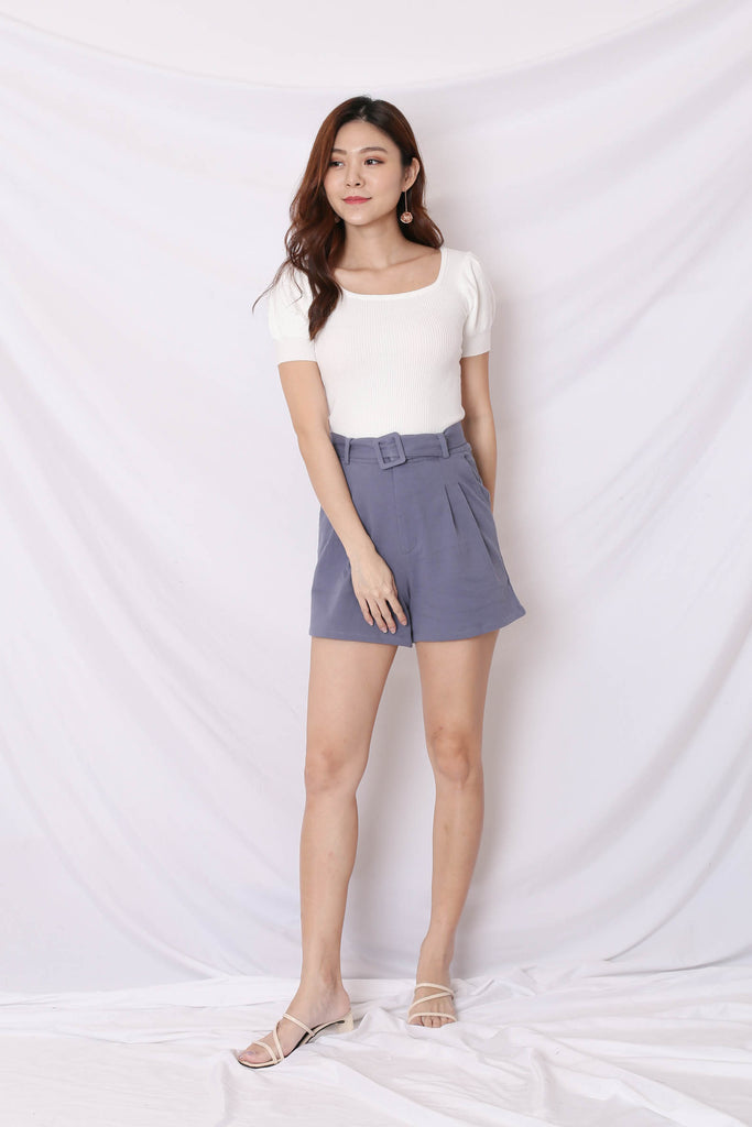 *TPZ* (PREMIUM) BREDA EVERY DAY HIGH WAISTED SHORTS IN PERIWINKLE BLUE
