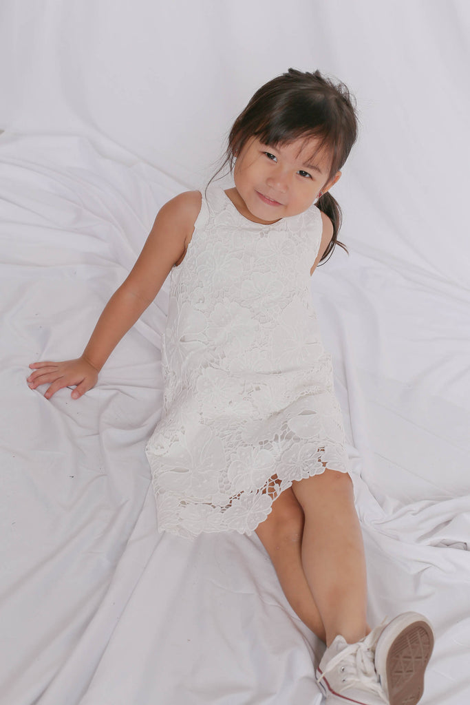 *LITTLE TOPAZETTE* NOVA CROCHET DRESS IN WHITE - TOPAZETTE